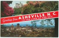 Asheville NC Greetings From Town View 60s Chrome Postcard 24899