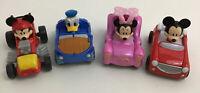 Disney Diecast Race Cars Roadster Racer Mattel Mickey Donald Minnie  4pc