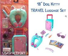 """18"""" Doll 10-piece CAT TRAVEL LUGGAGE SET Suitcase for My Life American Girl Boy"""