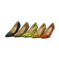 Ladies Pointed Toe Shoes Faux Snakeskin Wedge High Heel Party Pumps UK Size s312