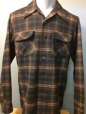 Vtg 70s 80s Pendleton Wool Shadow Plaid Shirt Mens M Flap Pocket Rockabilly Loop