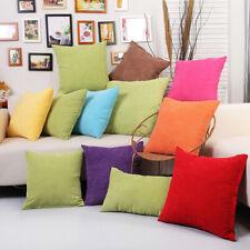 Home Decor Corduroy Pillow Case Sofa Waist Throw Soft Zipper Solid Cushion Cover