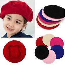 Winter Warm Kid Children Girl Solid Color Wool Beret Artist Beanie Hat Ski Cap Z