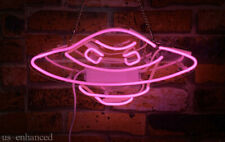 "New Alien UFO Pink Neon Sign Acrylic Gift Light Lamp Bar Wall Room 14""x10"""