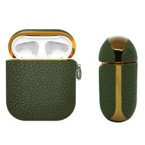 Apple AirPods Genuine Leather Case Green Luxury Shockproof Cover - Vert