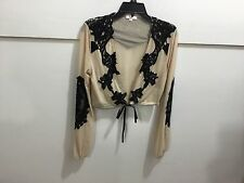 Luxxel ladies size medium gorgeous tie front lace detailed top NWT