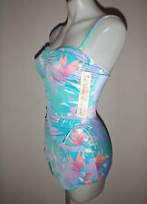 NWT Vintage From Sea to Shining Sea women's 12 pastel floral one-piece swimsuit