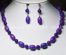 "PURPLE 10x14MM AFRICA SUGILITE GEMS BEADS NECKLACE 18"" EARRINGS SET JN659"