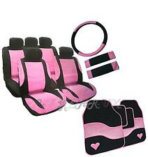 Girly PINK Steering Wheel Belt Leather Look Seat Covers Car Mats GIFT Ladies Set