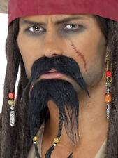 New Pirate Facial Hair Set Black Moustache Beard Fancy Dress Movie Fun Accessory