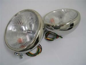 "1932 Ford Stainless Headlights 32 Ford w/ Turn Signals 10"" Deuce Lights NICE"