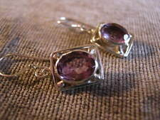 Genuine Amethyst 7ct & Solid 925 Sterling Silver Women's Drop Earrings FairTrade