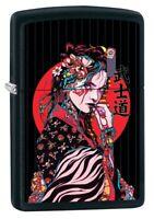 Zippo Lighter: Japanese Geisha Girl - Black Matte 80880