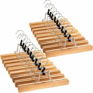 Smooth Natural Wooden Clamp Hangers for Pants Has 360°-Swivel Hook (Set of 20)