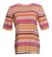 Isaac Mizrahi Live! Women's Top Sz S Crew Neck Elbow-Sleeve Striped Pink A375730
