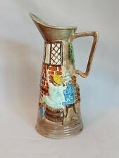 More details for vintage ceramic hand painted pitcher featuring a tavern scene by e radford