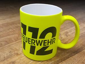 Neon Feuerwehr Tasse 112 Geschenk Fan Retter Kaffee Pott FT001