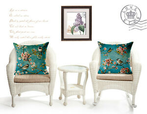 Set of two Cotton Linen Cushion Cover Hand painting style Bird Cherry blossom
