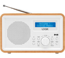 LOGIK LHDR15 Portable DAB/FM Clock Radio LCD Screen Light Wood & White