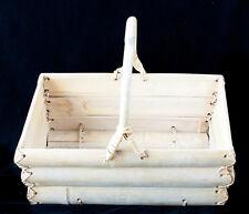 "Basket Hand Made Rustic Bamboo Slat Rattan Weaving Bentwood Handle 14 x 7"""
