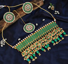 Stone Necklace Tikka Earrings Jewelry Ethnic Indian Bollywood Choker Green Pearl