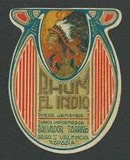 "RARE OLD ORIGINAL 1920'S CHIEFTAIN ""RHUM EL INDIO"" LIQUOR LABEL VALENCIA ESPANA"