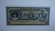 MEXICO ND EL BANCO DE SONORA 5 PESOS PICK-S419r M-507r RARE