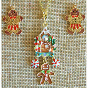 Kirks Folly Gingerbread House Charm Necklace GT with Gingerbread Man Earrings