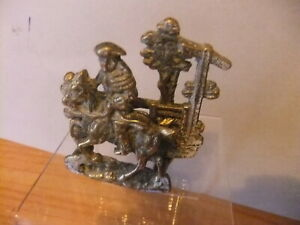 VINTAGE  SOLID BRASS LETTER RACK DEPICTING DICK TURPIN RIDING ON HIS WAY TO YORK