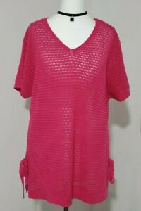 Ladies Loose Knitted Top PINK Size UK-12 V-Neck Tie Sides Short Sleeved F&F VGC