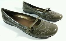 Clarks womens olive patent leather flat shoes uk 7