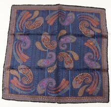 "New SANTOSTEFANO Blue Purple Green 12"" Silk Pocket Square Handkerchief NWT $150"