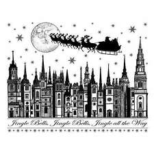 Crafty Individuals JINGLE BELLS ROOFTOPS Rubber Stamp CI-254