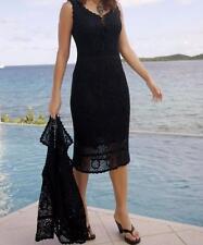 Women's Business Office Church party Black hand-Crocheted Jacket Dress plus 1X