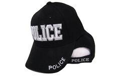 Black and White Police Law Enforcement (Raised 3D Lettering) Baseball Hat Cap