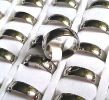 25 Silver 6mm Classic 316L Stainless Steel Wedding Rings Unisex Band 17-21mm mix