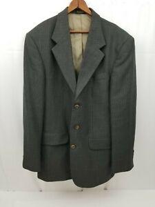 Oscar De La Renta Mens Sports Coat Suit Jacket Green Blue Houndstooth 40R Wool