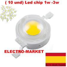 ( 10 und) Led chip 1w -3w  Blanco frio, Blanco calido 3,2-3,6v- 100-120Lm.