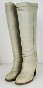 Vintage Zodiac Gray Leather High Heel Boots Size 8.5