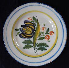 """""""D39"""" : Assiette en faïence de l'Est (Lunéville ou ST-Clément..) décor floral"""