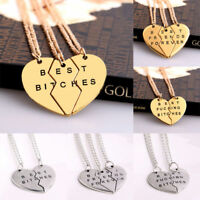 BFF Broken Heart Best Friends Best Bitches Forever Chain Pendant Necklace Gifts