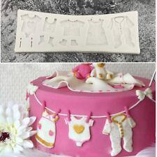 Baby Kleidung Silikon Fondant Tortenaufsatz Gussform Form Chocolate Candy Dusche