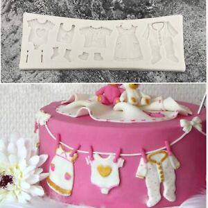 BABY CLOTHES Silicone Fondant Cake Topper Mold Mould Chocolate Candy Baby Shower