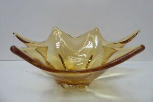 VINTAGE STUDIO ART AMBER GLASS FRUIT BOWL MID CENTURY CENTRE PIECE