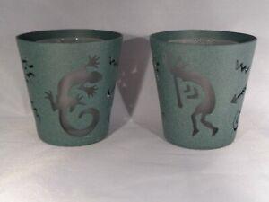 Partylite Arizona Green Gecko & Kokopelli Votive Holder Pair EUC