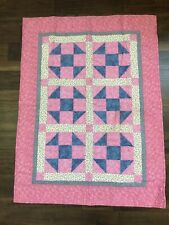 Farmhouse Calico Pink Blue Flowers TODDLER SIZE QUILT BLANKET Reversible