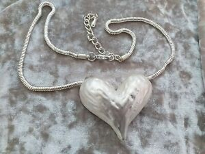 Chunky Heart Necklace Silver Tone