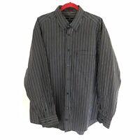 Bugatchi Uomo Mens Shirt Striped Long Sleeve Button Down Blue Black Tan Size XL