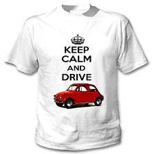 FIAT 500 1958 ispirato KEEP CALM AND DRIVE-Nuovo T-SHIRT COTONE BIANCO