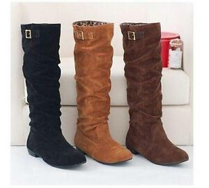 Winter Ladies Slouch Pull On Knee High Boots Women Fashion Suede Buckle Shoe NEW